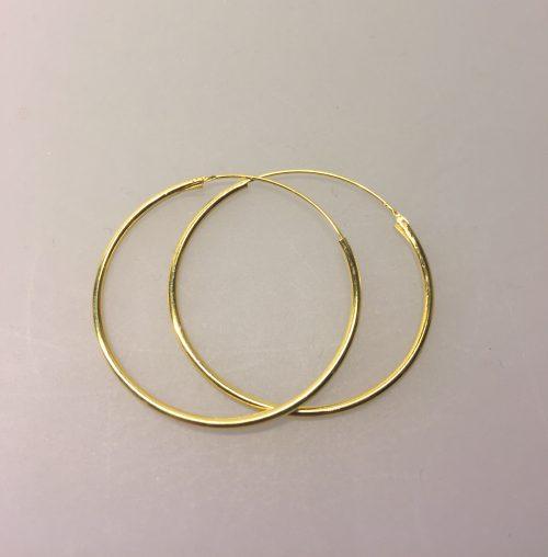 Creoler - Ø 35 mm - øreringe forgyldt sølv - glatte hoops, øreringe, ørenringe, guld, ægte, gyldne, guldøreringe, runde, hoops, loops, ørenringe, ringe, store, forgyldte, guldbelagte, billige, kvalitet, flotte, moderne, stine a, maanesten
