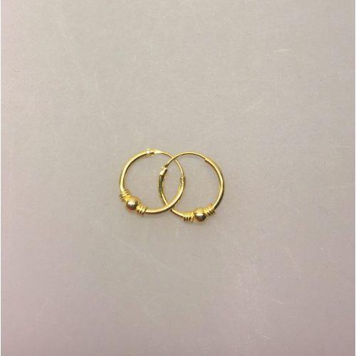 Creoler - Ø 12 mm øreringe forgyldt sølv med kugle og snoning, hoops, øreringe, ørenringe, runde, forgyldt, guld, guldbelagt, guld, ægte, billige, kvalitet, mønster, små, smarte, boho,