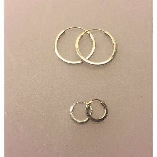 """Creol øreringe i sølv - Creoler - hoops Ø20 mm kantede - Creol øreringe i sølv - Creoler """"hoops"""" Ø10 mm kantede"""