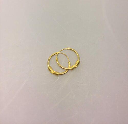 Creoler - Ø 12 mm øreringe forgyldt sølv med S-mønster og snoning, hoops, øreringe, runde, ørenringe, ringe, mønster, guld, ægtem sterling, sølv, mønster, specielle, fine, flotte, cool, sommer, maanesten