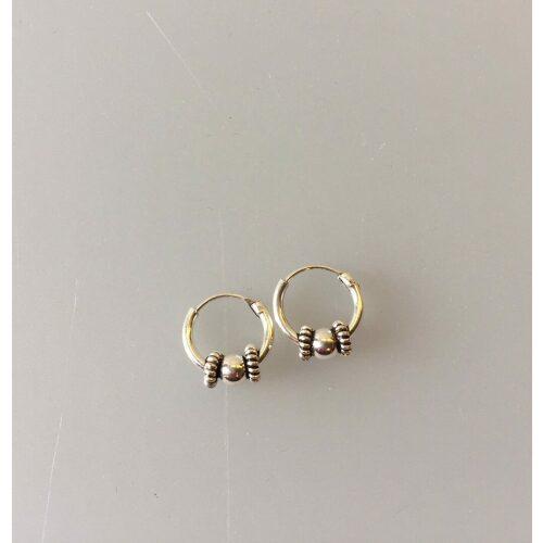 Creol øreringe i sølv med kugle og oxyderet snoning Ø10 mm