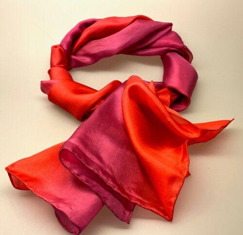 1658-230, Glat silketørklæde 1658 - Rød/pink, rød, varm rød, kold pink, pink, cerise, fuchsia, glat, silke, ren silke, silketørklæde, kor, til kor, kvalitet, lækkert, luksus, flot, smart, silkesjal, skærf, biti, ribe,