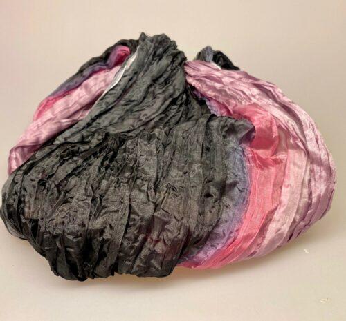 Twistet silketørklæde 1664 - Antracit grå/iris