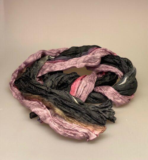 Twistet silketørklæde 1664 - Antracit grå/iris, 248