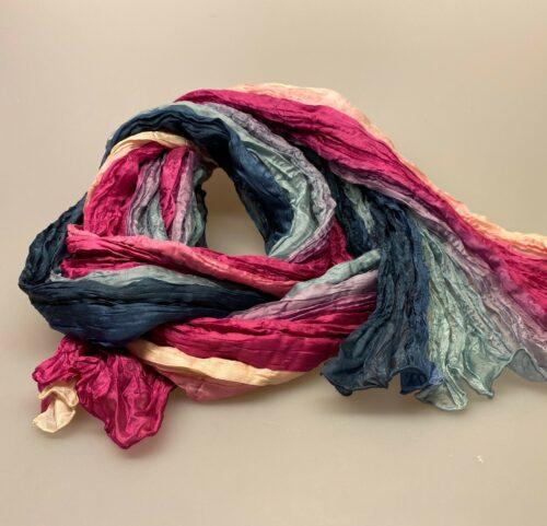 Twistet silketørklæde 1664 - Pink/grå/beige, 1664 242 pink grå beige farve silketørklæde silke tørklæde sjal