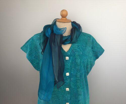 Bluse-jakke 010 - Batik k/æ - Feder Turkis
