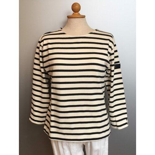 Armorlux T-shirt - Model 6706 - økologisk bomuld 3/4 ærmer med slids Dame Ecru/Marine