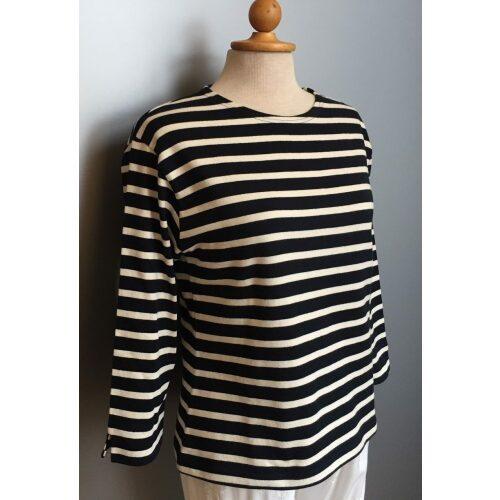 Armorlux T-shirt - Model 6706 - økologisk bomuld 3/4 ærmer med slids Dame Marine/Ecru