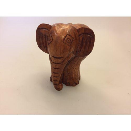 Elefant - Håndskåret af Træ - Snabel ned Brun
