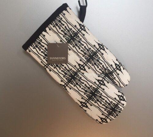 Grillhandske - bomuld med tryk - Hvid med Sort Mønster