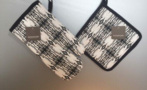 Grydelap og grillhandske - bomuld med tryk - Hvid med Sort Mønster