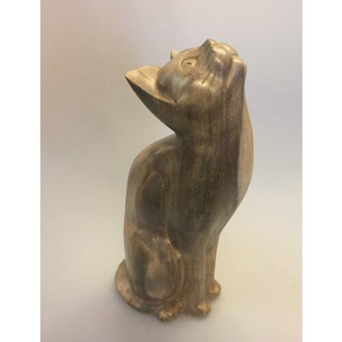 Kat - håndskåret - Kigge Op XL Grå, suar, træfigur, trækat, kat, håndsnittet, håndlavet, træskærearbejde, katte, kattefigur, kunsthåndværk, kunst, katteting, ting med katte, biti, ribe
