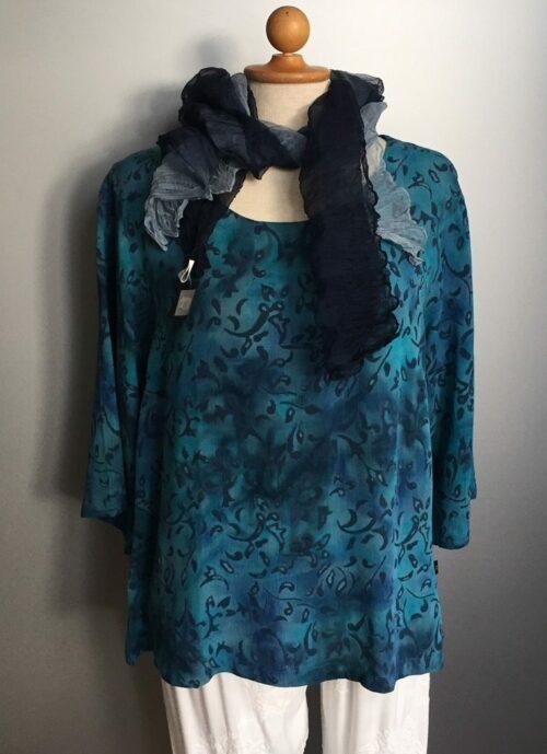 Batik bluse - Top Puri crincle - Løv Blå