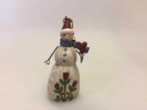 "Jim Shore Heartwood creek lille Snemand med hjerte ""Snowman with heart"""