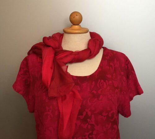 Batik Bluse - Taro - med kort vingeærme - Løv Pink