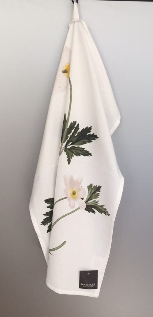 """Viskestykke - Bomuld med tryk - Den danske Flora """"Anemone""""."""