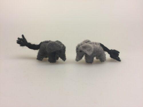 Håndlavet Elefantfigur i grå filt - mini