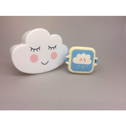 Madkasse - Hvid Lille Sky Snackboks med klemmer - Blå med Lille Sky