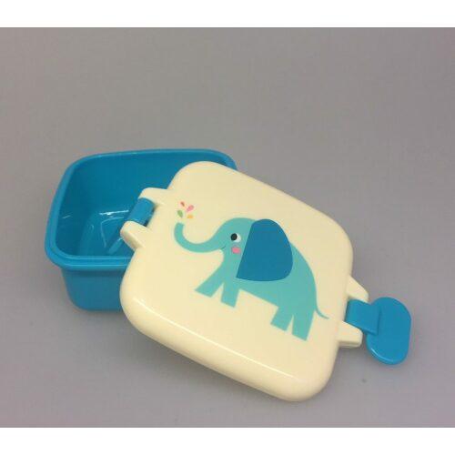 Snackboks med klemmer - Blå Elefant
