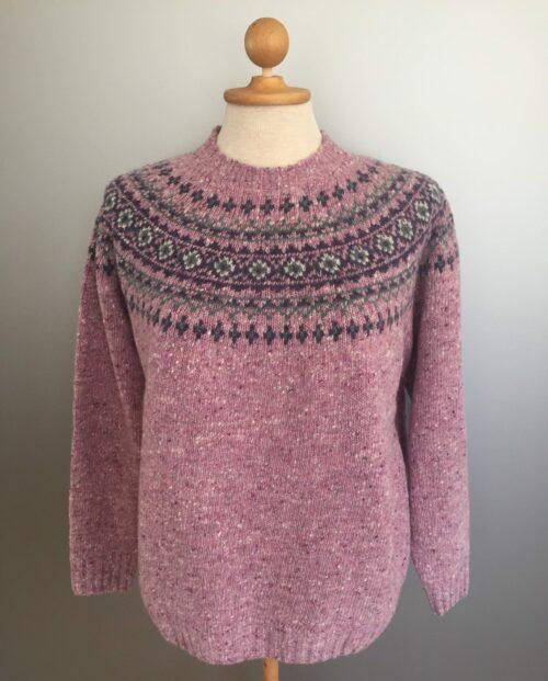 Pullover merino tweed strik med færø mønster - Lyslilla
