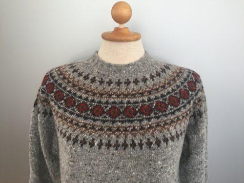 Pullover merino tweed strik med færø mønster - Lysegrå
