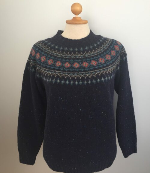 Pullover merino tweed strik med færø mønster - Navy
