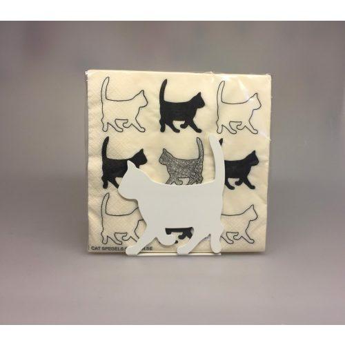 Servietter hvide med sorte Katte - Servietholder metal - Kat Hvid