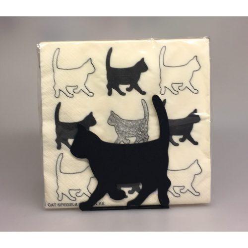 Servietter hvide med sorte Katte - Servietholder metal - Kat sort