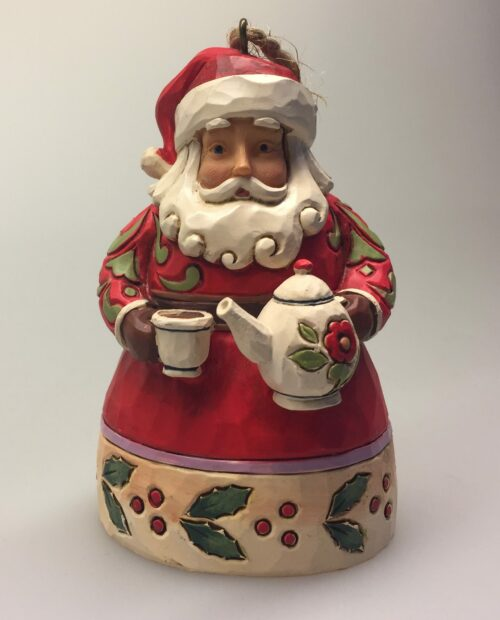 "Jim Shore Heartwood creek lille Julemand med tekande ""Santa with teapot"""