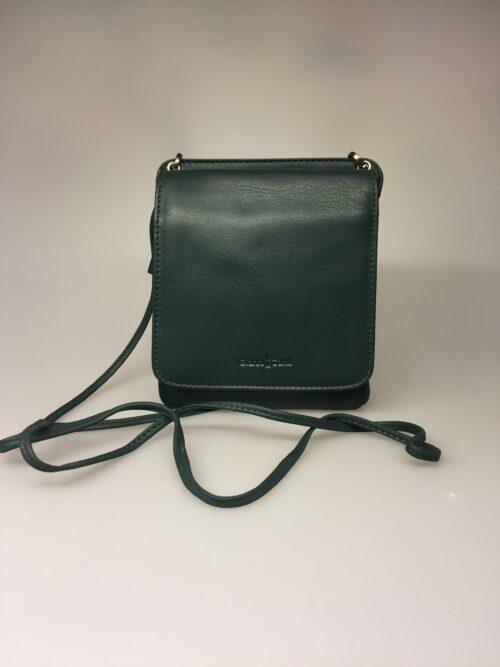 Taske med integreret pung (5513) - kalveskind Flaskegrøn