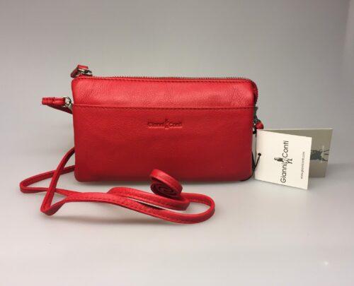 Lille Taske - Clutch med integreret pung (5522) - Kalveskind Rød