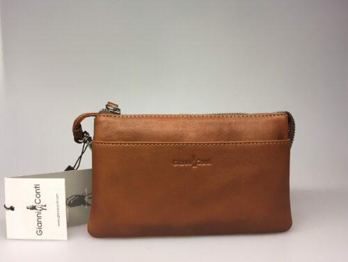 Lille Taske - Clutch med integreret pung (5522) - Kalveskind Brun, taskepung, clutch, crossover, cross-over, skindtaske, festtaske, gåitbyentaske, lækker, kvalitet, kalveskind, lille, handy,