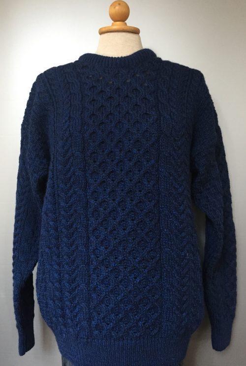 Aran Pullover - Irsk merinould kabelstrik - Blå