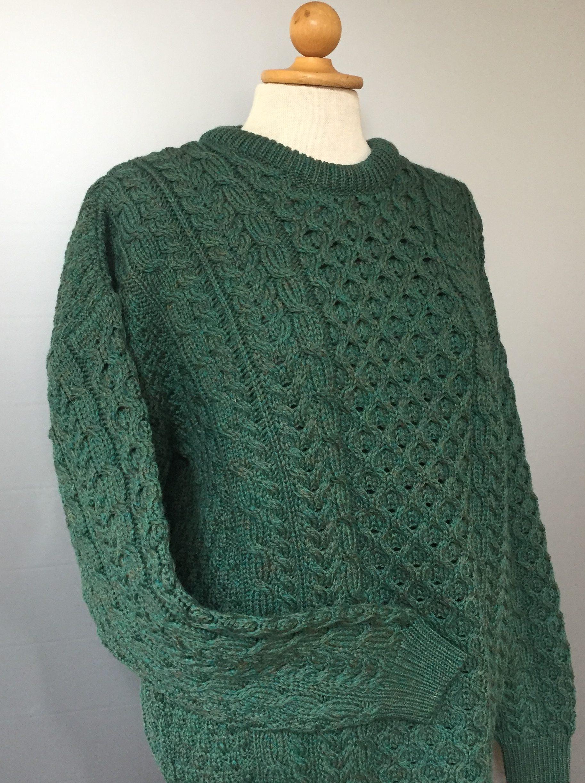 Aran Pullover - Irsk merinould kabelstrik - Grøn