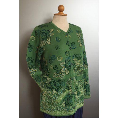 Dunque Fintstrikket Cardigan - bomuld - Grøn