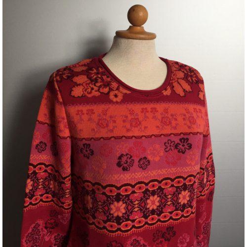 Dunque Fintstrikket Pullover - bomuld - Rød/rosa/abrikos