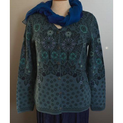 Dunque Fintstrikket Cardigan i uld/bomuld - Blå
