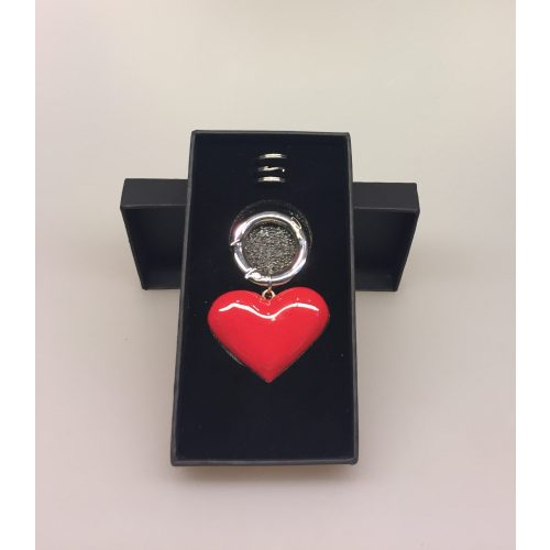 Hjerte nøglering - Rødt hjerte med 3 ringe