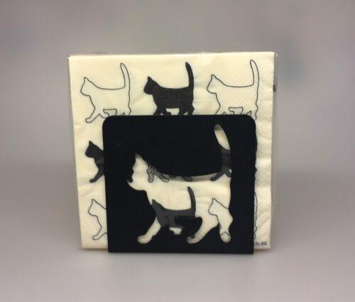 Servietter hvide med sorte Katte - Servietholder metal - Firkantet sort med kat