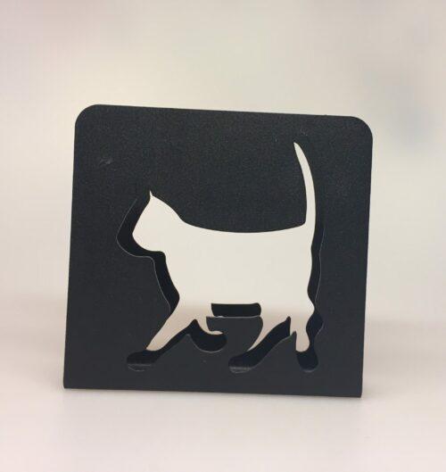 Servietholder metal - Firkantet sort med kat