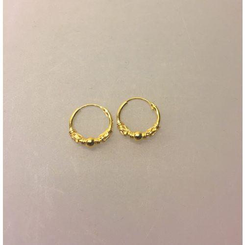 Creoler - Ø 12 mm øreringe forgyldt sølv med kugle og S-mønster, hoops, guld, forgyldte, guldbelagte, ægte, kvalitet, billige, boho, mønster, bali, flotte, moderne, maanesten