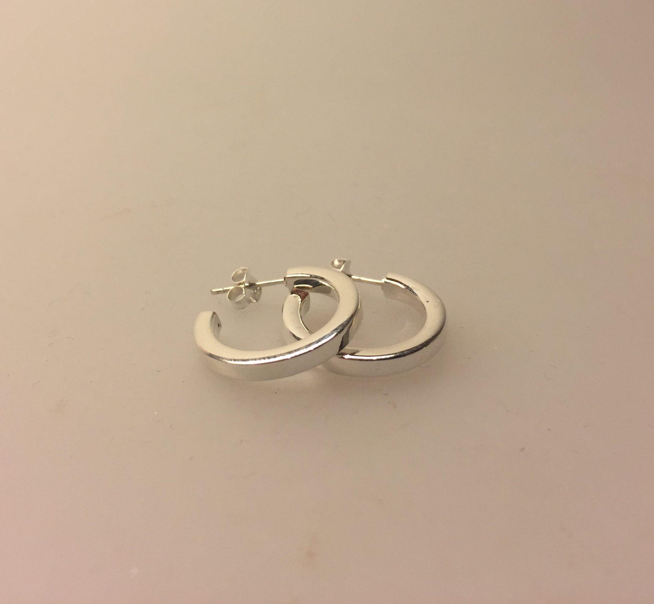 6ced5eae3b9 Ø 20 mm Creoler sølv - hoops med stik kantede, ægte sølv, nikkelfri,