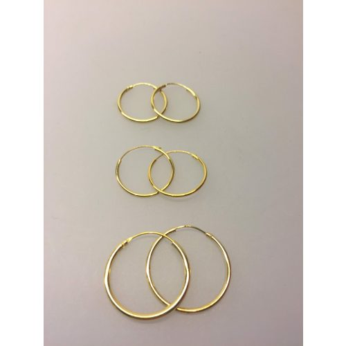 Creoler - øreringe forgyldt sølv - mellemstore Hoops (25 mm) - Creoler - øreringe forgyldt sølv - mellem Hoops (18 mm)