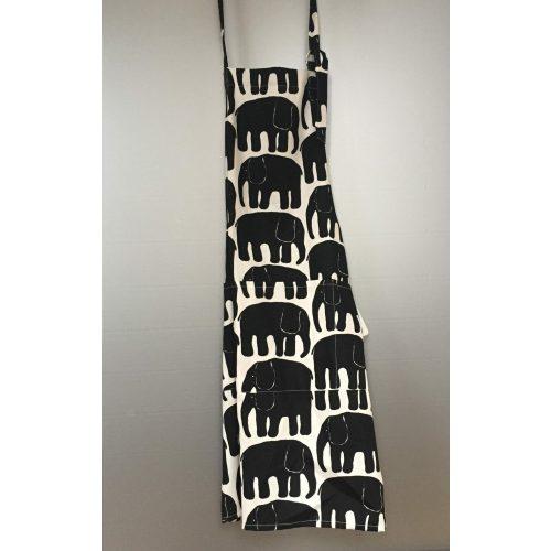 Forklæde bomuld med tryk - hvidt/sort elefanter