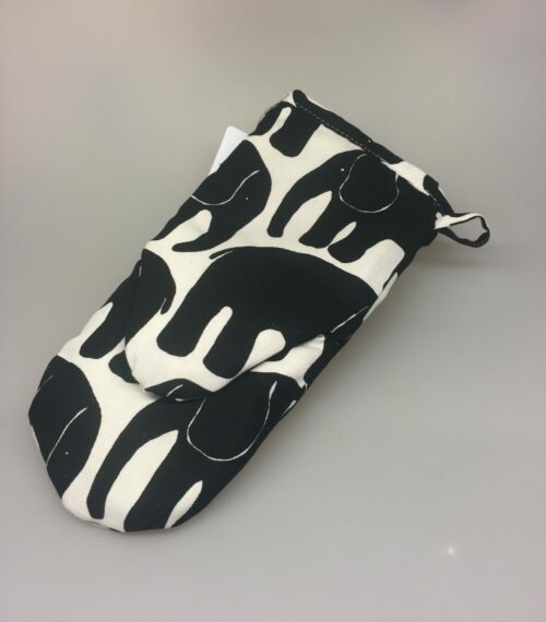 Grillhandske - bomuld med tryk - Hvid/sort Elefanter