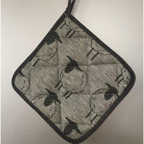 Grydelap (1) - vævet bomuld/hør - Får sort/grå