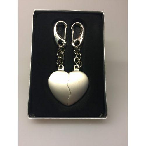 Nøglering - Hjerte todelt - Mat sølv