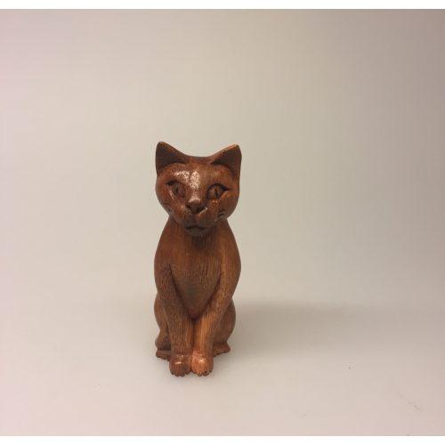 Kat - håndskåret træ - Kigger ligeud S Brun