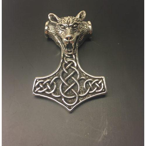 Vikingevedhæng i sølv - Thorshammer med Ulvehoved