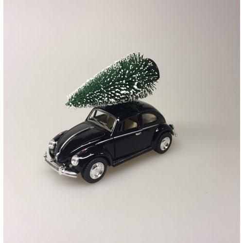 VW Folkevogn bobbel classic med juletræ på taget - Sort, vw, volkswagen, julebil, bil med grantræ, bil med juletræ, folkevogn med træ, folkevogn med juletræ, folkevogn med grantræ, driving home for christmas, driving home for xmas, julepynt, dekoration, stilleben, julebord, julen 2019, med granatræ på taget, bobbel, boble, bobble, nedgroet negl, asfalt bobbel, biti, ribe
